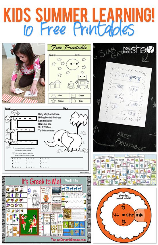 Kids summer learning printables collage copy from Howdoesshe.com #kids #printables #learning #summer #activities