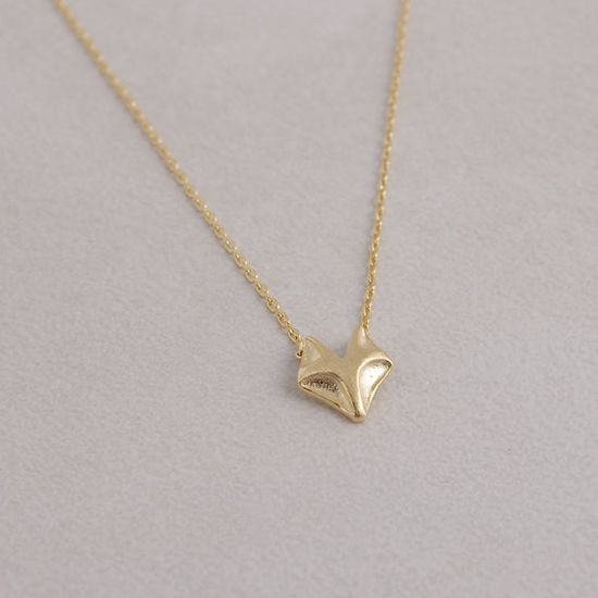 Fox Necklace in Gold on Etsy, $12.00