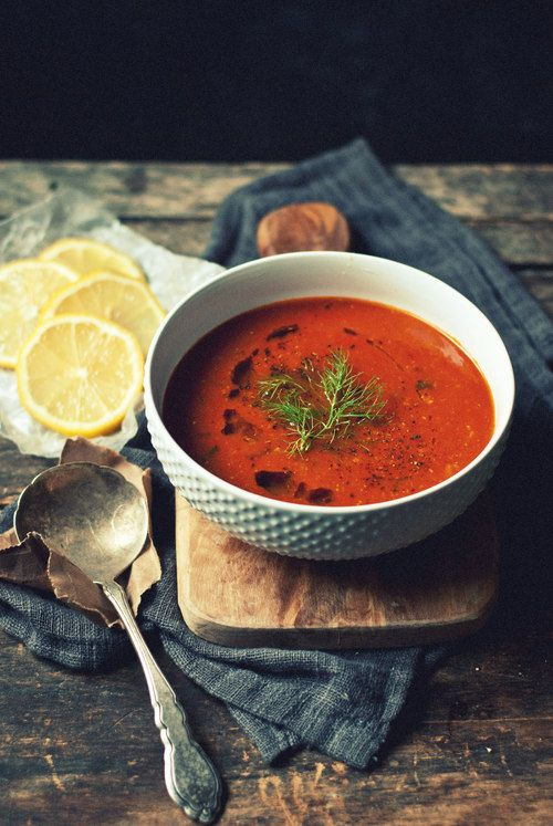 Caramelized Fennel, Roasted Garlic and Tomato Soup with Lemon
