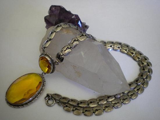 Vintage 1940's Art Deco Necklace Topaz by eclecticappealjewels, $65.00