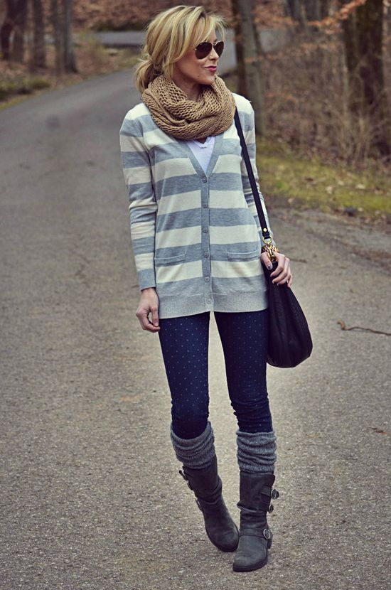 long cardigan, leggings + boot socks