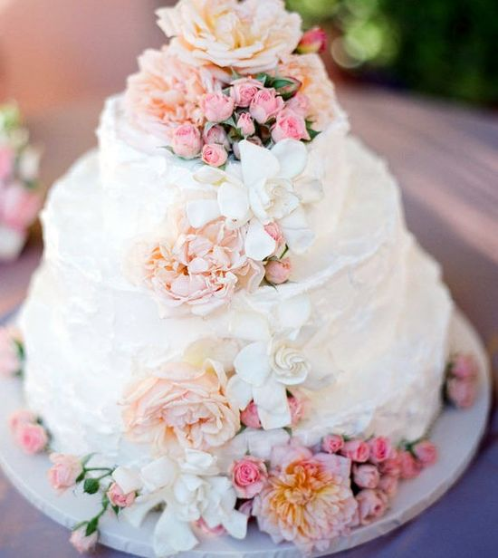 wedding cake with flowers.