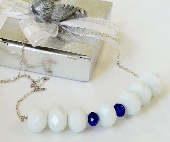 White Milky Blue Crystal Faceted Sterling Silver by BijiBijoux,