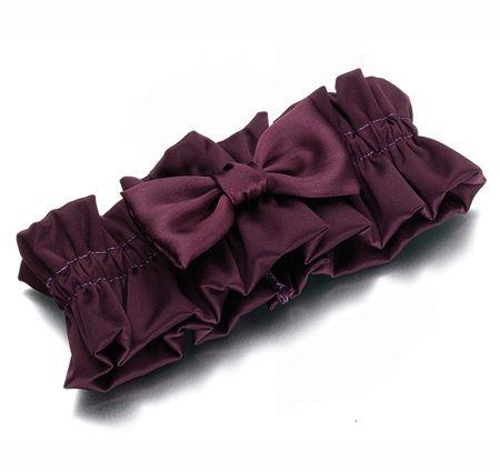 Plum Purple Satin Wedding Garter