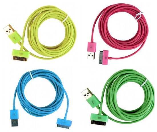 Colorful iOS cords -- love these!