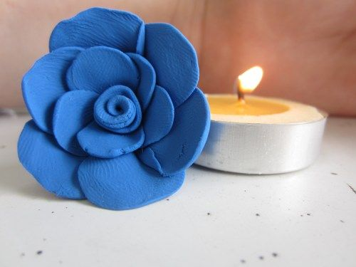 Handmade Rose Pendant Royal Blue Made from Polymer Clay