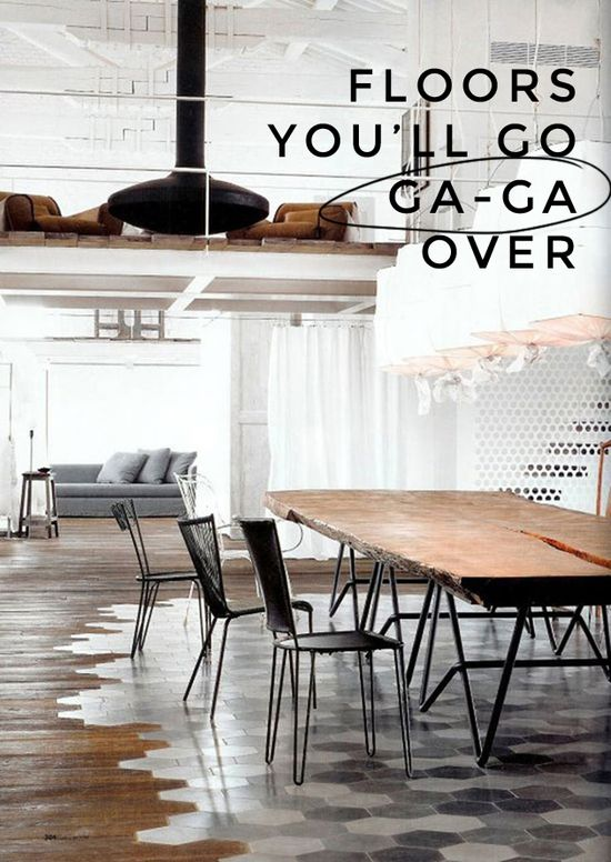Creative Flooring - LOVE the mix of tiles and wood flowing organically together instead of having a hard line