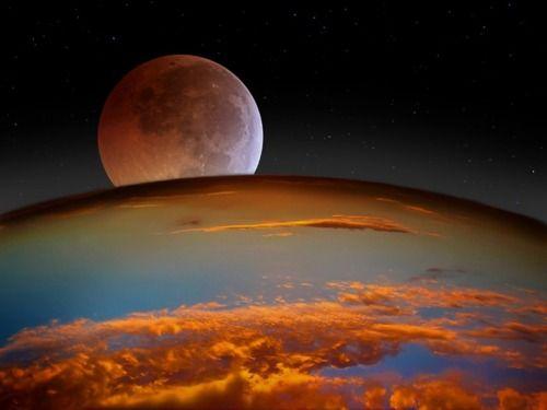 Изглед от Космоса на Земята и Луната