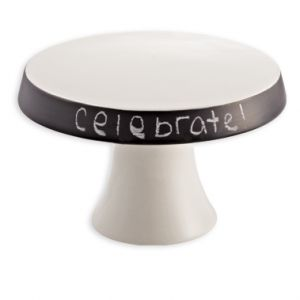 Chalkboard Cake Stand by Katie Rebecca Events. Customize the message to fit the occasion and one of very few cake stands that's not too girly. Not that I mind girly. $20