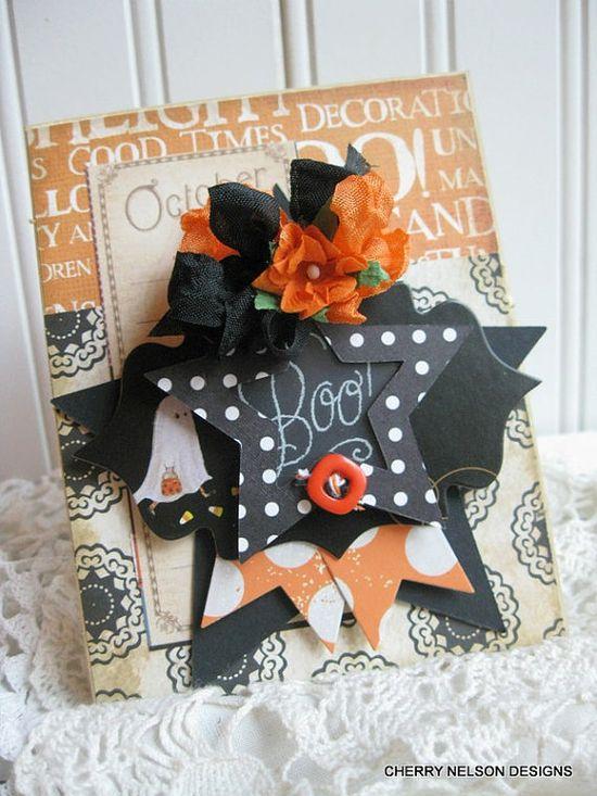 vintage halloween card GHOST CHALKBOARD BOO by cherrysjubileecards
