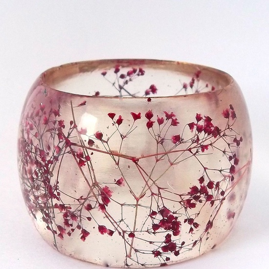 Super Chunky Statement Bangle.  Red Botanical Resin Bracelet.  Pressed Flower  Bangle with Real Flowers.   Baby's Breath. $46.00, via Etsy.