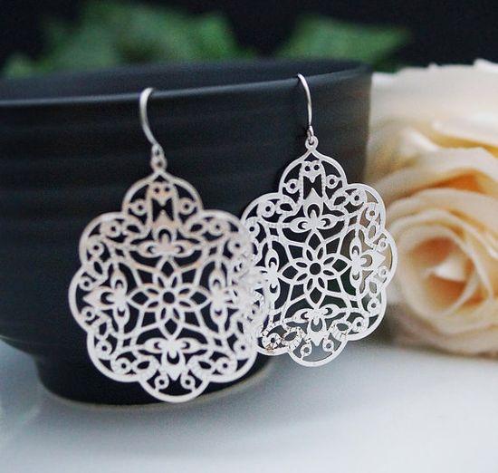 Jewelry Dangle Earrings Matte rodium plated by earringsnation