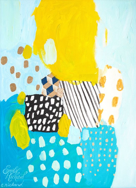 Eternal Optimist, Original Abstract Mixed Media Painting on Stretched Canvas by Emily Rickard