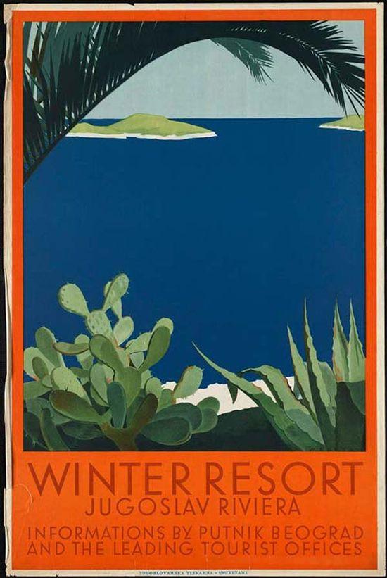 Travel poster Yugoslavia :: Winter Resort  #vintage #travel #poster