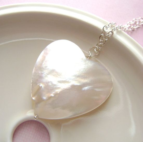 Mother of Pearl heart Pendant Sterling by RachellesJewelryBox