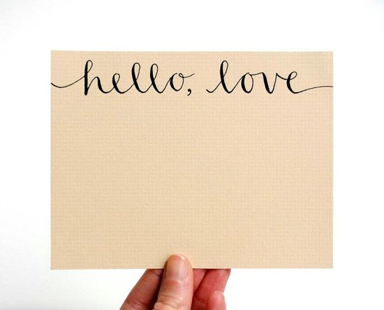 Hello Love Stationery Set Handwritten Cards by SparrowNestScript via Etsy