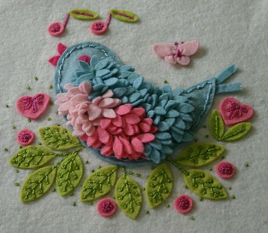 Felt Embroidery Bird