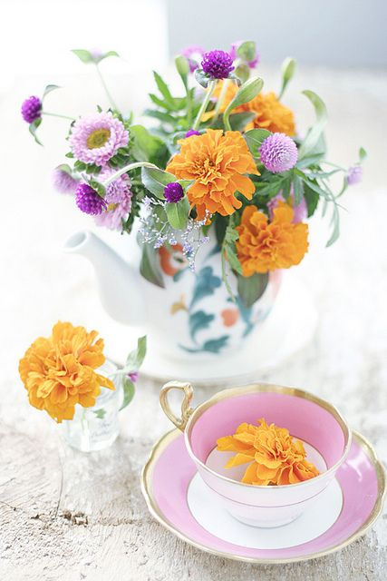 beautiful arrangement in classic teapot