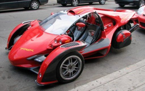 Cool red car three wheels