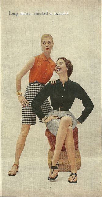 Long shorts - checked or tweed for summer. #vintage #1950s #summer #fashion