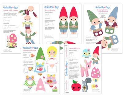 Printables for making a mobile, paper dolls w/ outfits, etc.