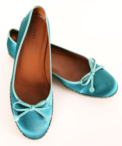 Marc Jacobs Teal Satin Ballet Flats