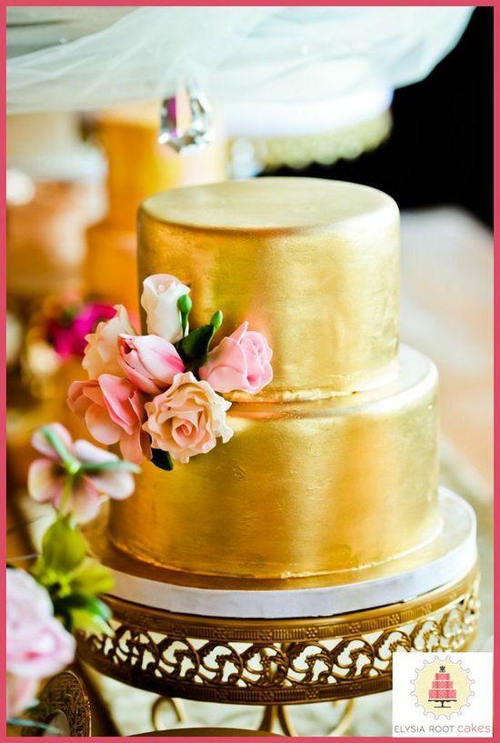 Gold Wedding Cake #elysiarootcakes