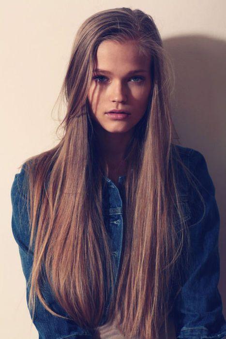 Long, straight hair.