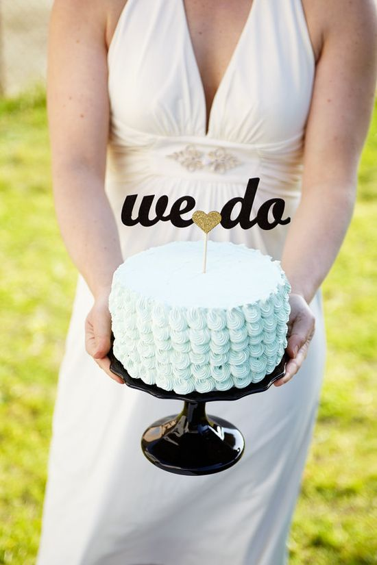 The Whimsical Wedding Cake Topper in Black and Gold - Ready to ship