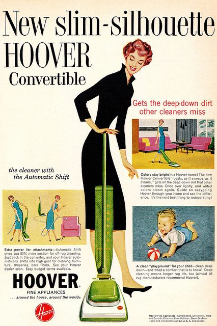 Get a new slim silhouette...Hoover, that is! :) #vintage #1950s #ad #mother #homemaker #cleaning #vacuum