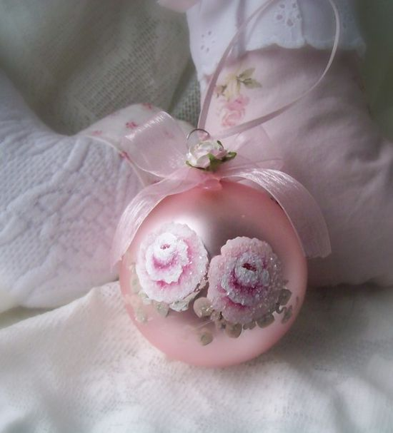 Hand Painted Pink Ornament