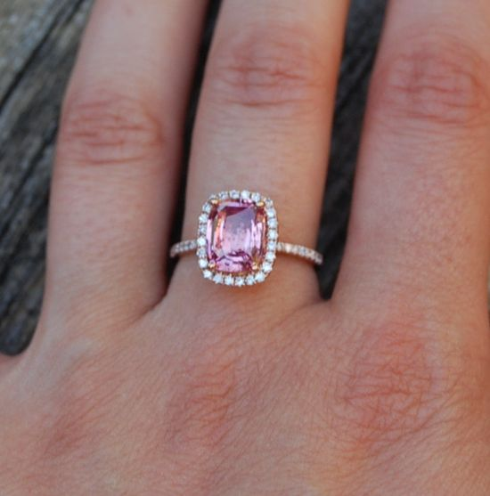 2.53ct cushion Peach Sapphire Champagne Sapphire 14k Rose Gold diamond ring engagement ring