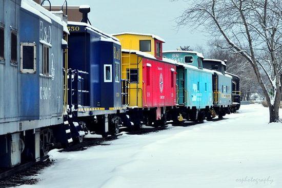 colorful train cars