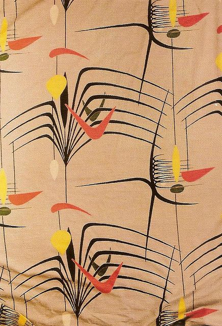1950s textile design fit with boomerangs, and the colors orange, black and yellow