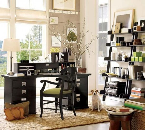 Using open (less-expensive) shelving in an office; looks good here