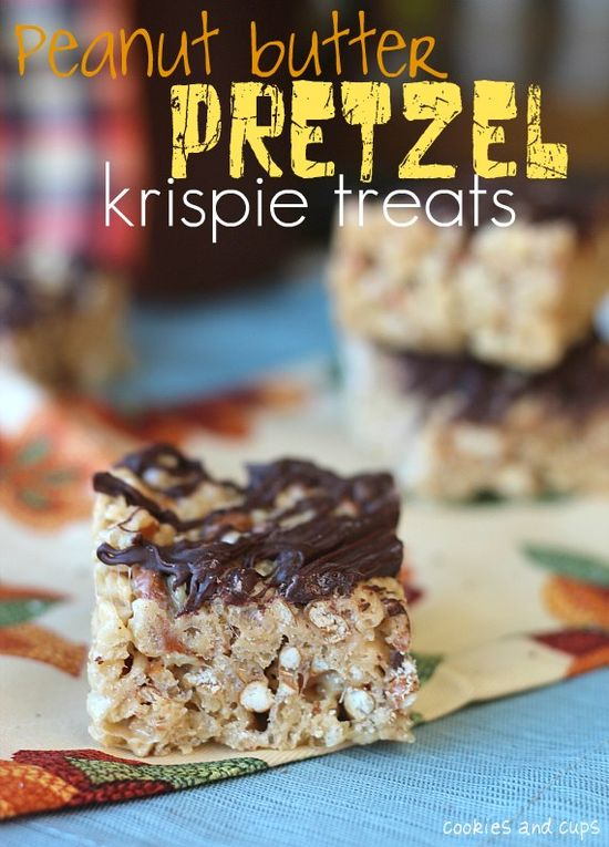 Peanut Butter Pretzel (& Chocolate!) Rice Krispie Treats