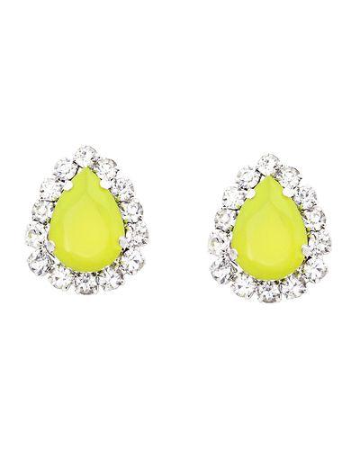 Neon Yellow Teardrop Earrings - JewelMint