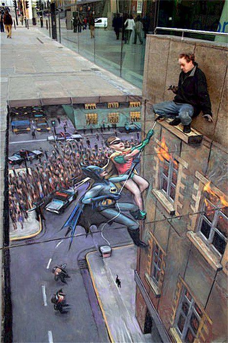 3D Street #Chalk #Art _#Batman and Robin - Julian #Beever