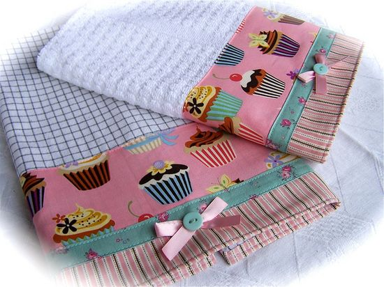 Pair of kitchen cupcake towels. by Decorative Towels - Created by Cath., via Flickr