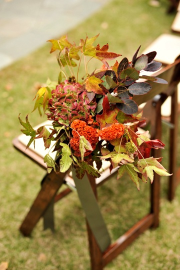 pretty fall chair arrangement by Luke Wilson Special Events