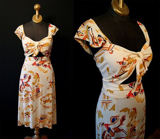 Incredible 1940s cowboy novelty print rayon dress with peekaboo bodice. #vintage #1940s #fashion #Western