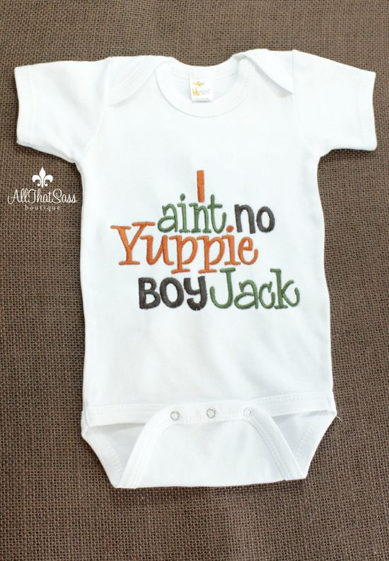 Boys Duck Dynasty Baby  Boys Onesie - Embroidered - Si Sayings - Baby Shower Gifts - Yuppie Boy- Jack. $18.00, via Etsy.