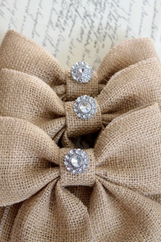 THREE Burlap bows with vintage inspired rhinestone, Farmhouse, shabby chic, rustic, weddings, home decor