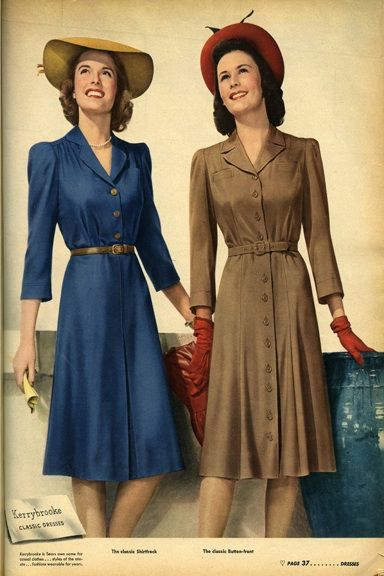 Classic 1940s Fall Fashion: Flattering shirt dresses slightly broaden the shoulders, while emphasizing narrow waistlines. #vintage #1940s #autumn #fashion #dresses #hats