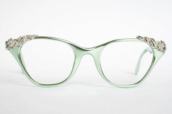 Mint green vintage glasses