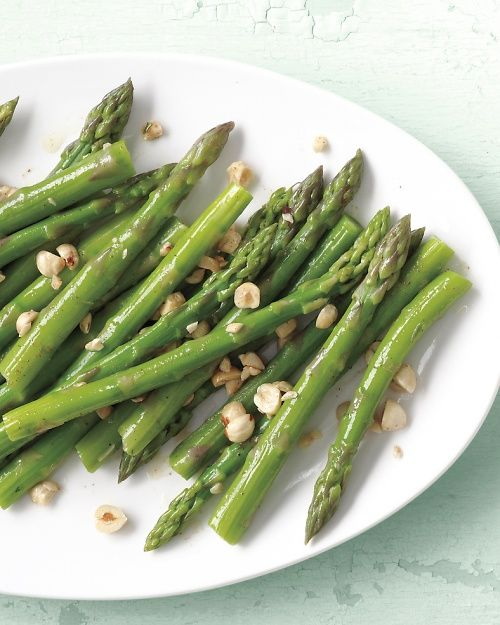 Steamed Asparagus with Brown Butter and Hazelnuts Recipe