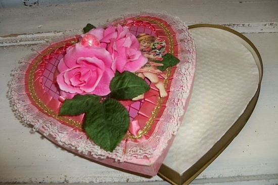 Vintage heart box romantic Valentine candy by AnitaSperoDesign, $35.00