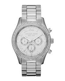 Y18FZ Michael Kors Mid-Size Silver Color Stainless Steel Layton Chronograph Glitz Watch