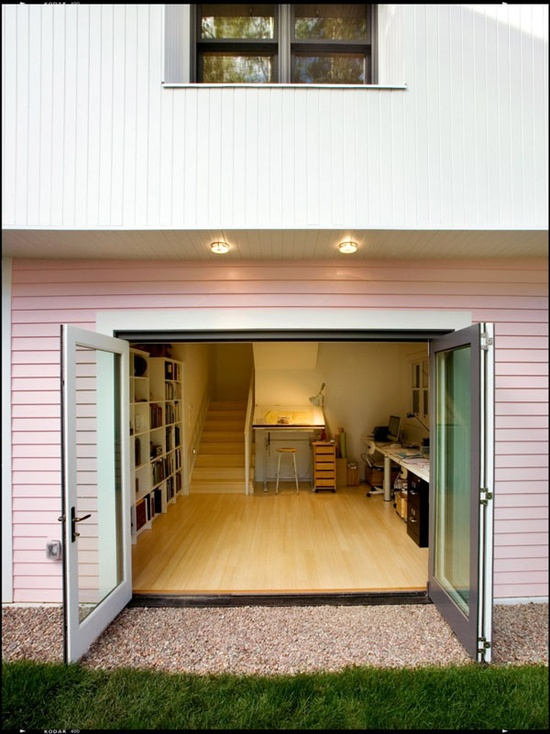 Pink Small House design - Office and storage