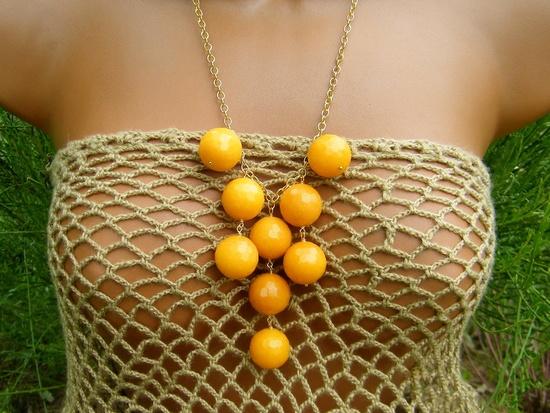 Mango Yellow Orange Jade Bib Necklace. Sunshine Yellow Jade Bubble Necklace.. $42.00, via Etsy.